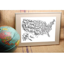 Load image into Gallery viewer, Black and White US Map Print