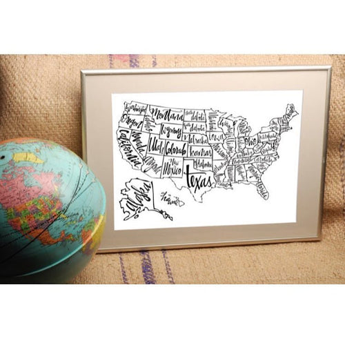 Black and White US Map Print
