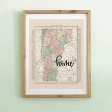 Load image into Gallery viewer, Vintage Vermont State Map Print