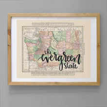 Load image into Gallery viewer, Vintage Washington State Map Print