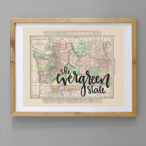Vintage Washington State Map Print