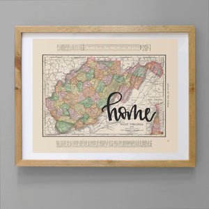 Vintage West Virginia State Map Print