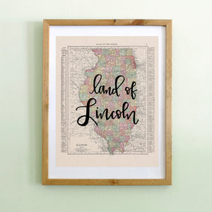 Vintage Illinois State Map Print