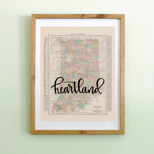 Load image into Gallery viewer, Vintage Indiana State Map Print