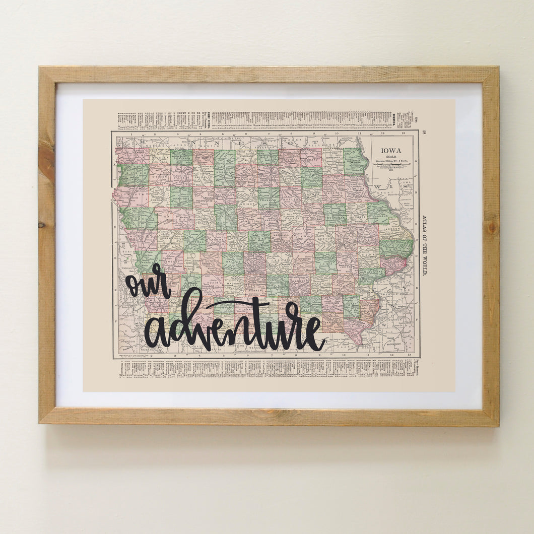 Vintage Iowa State Map Print
