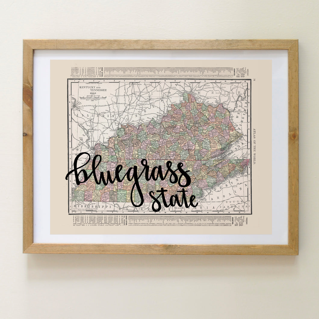 Vintage Kentucky State Map Print