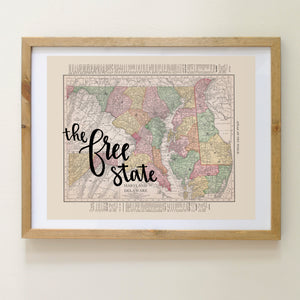 Vintage Maryland State Map Print
