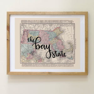 Vintage Massachusetts State Map Print