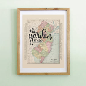 Vintage New Jersey State Map Print