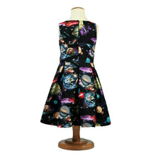 Load image into Gallery viewer, Science dress for girls, cotton zip back solar system dress, toddlers planet dress