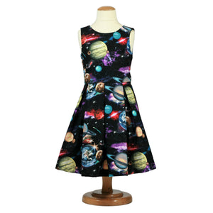 Solar system dress, girls space dress, toddler space dress, science dress, girls planet dress