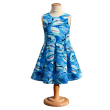 Load image into Gallery viewer, shark dress with box pleats, toddler shark dress, science dress, STEM dress for girls