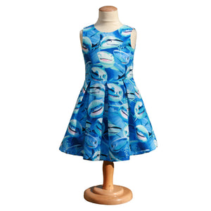 shark dress with box pleats, toddler shark dress, science dress, STEM dress for girls