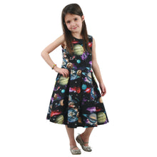 Load image into Gallery viewer, Outer space dress, planet dress, galaxy dress, science dress for girls, toddlers STEM dress