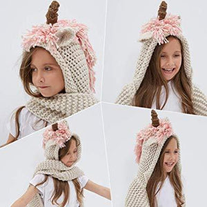Crochet Cartoon Unicorn Winter Hat with Scarf Pocket Hooded Knitting Beanie Cosplay