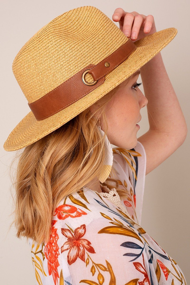 Grommet Leather Strap Panama Hat