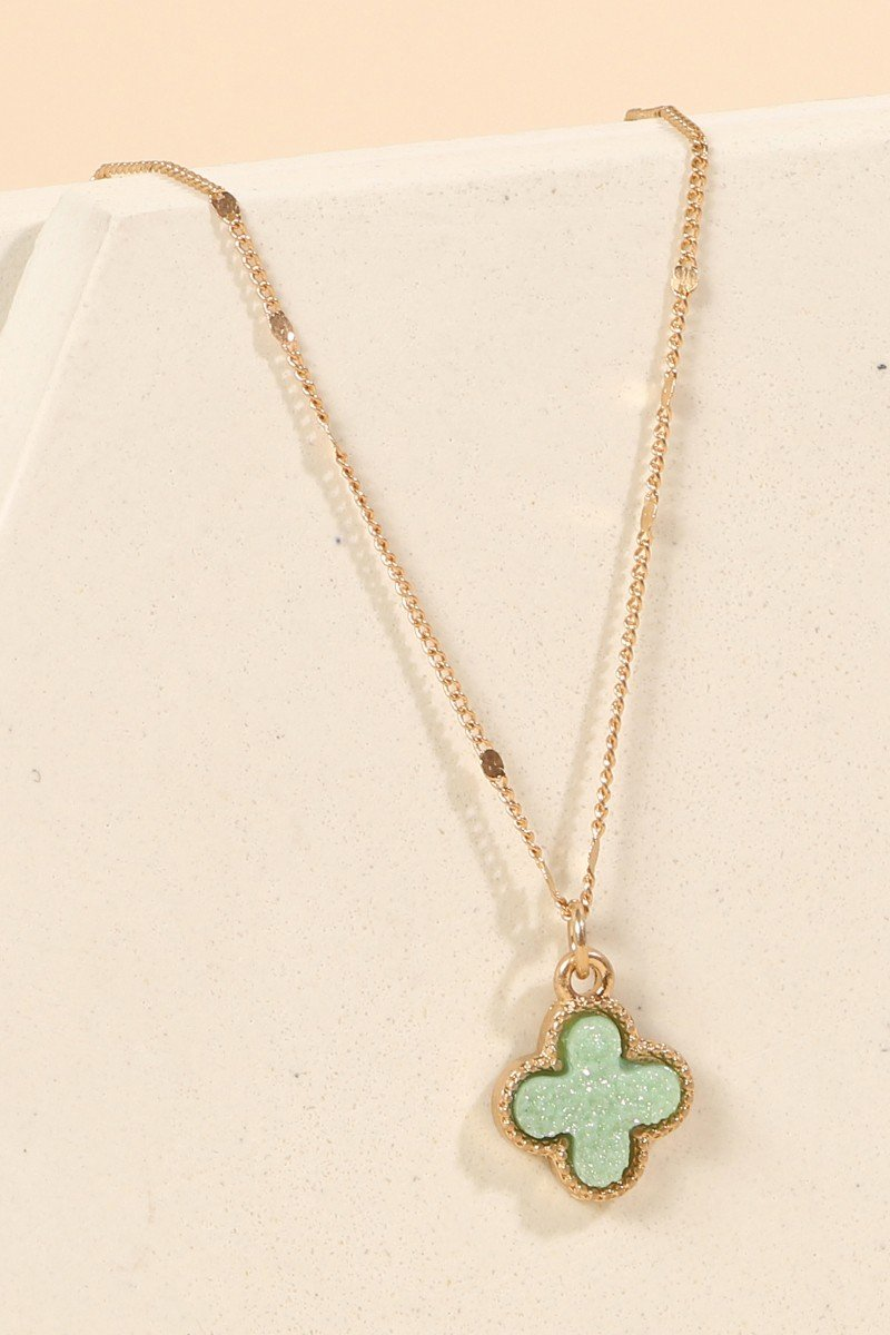 Clover Pendant Druzy Pendant Short Necklace