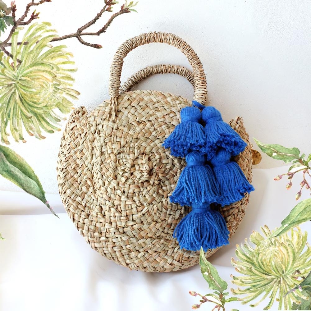 Petite Luna Bag - Round Straw Tote Bag with Royal