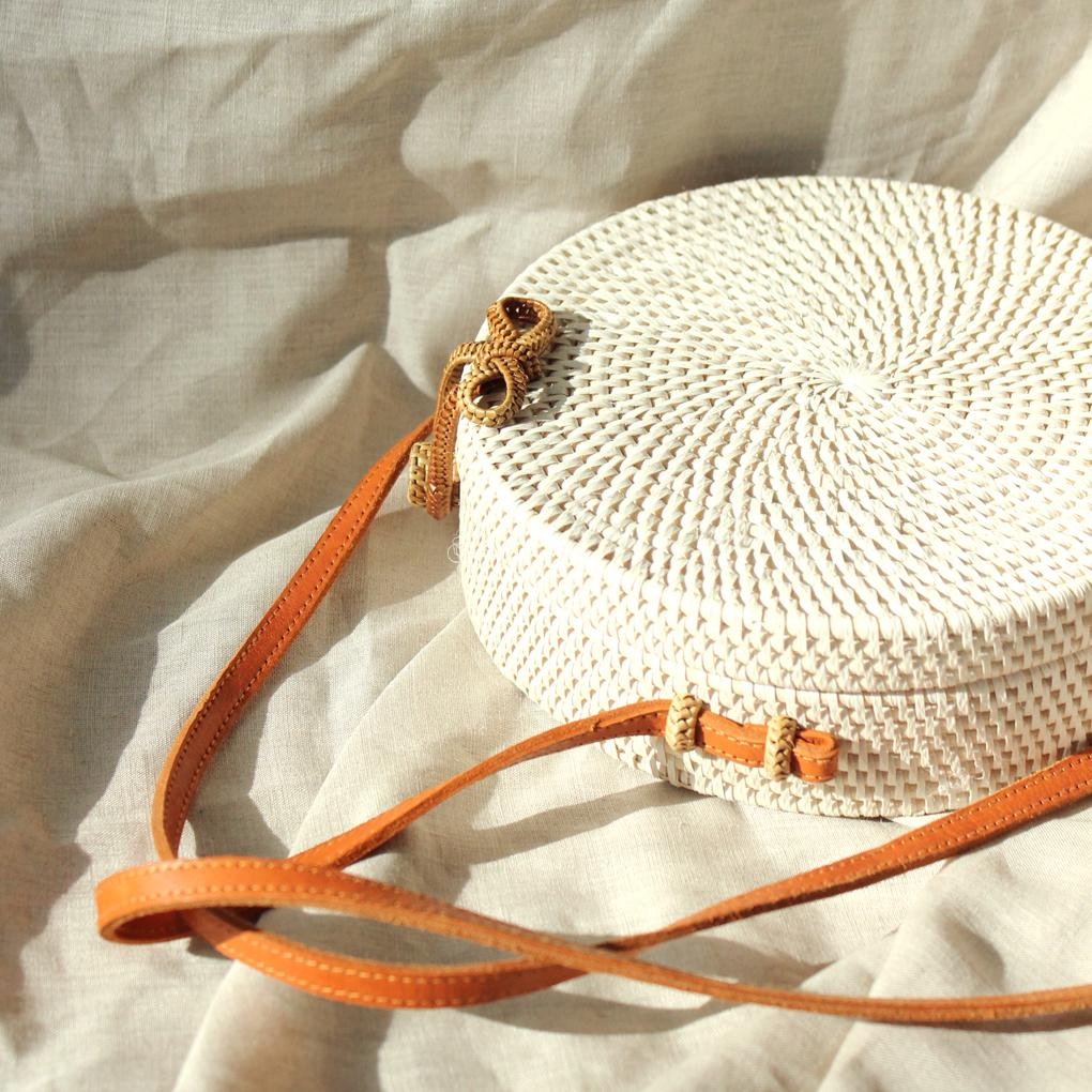 White Atta Reina Cross-Body Round Rattan Straw Bag
