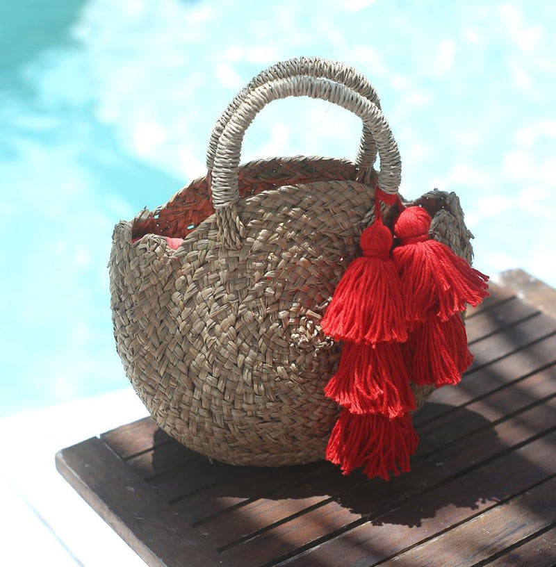 Petite Luna Bag - Round Straw Tote Bag with Red