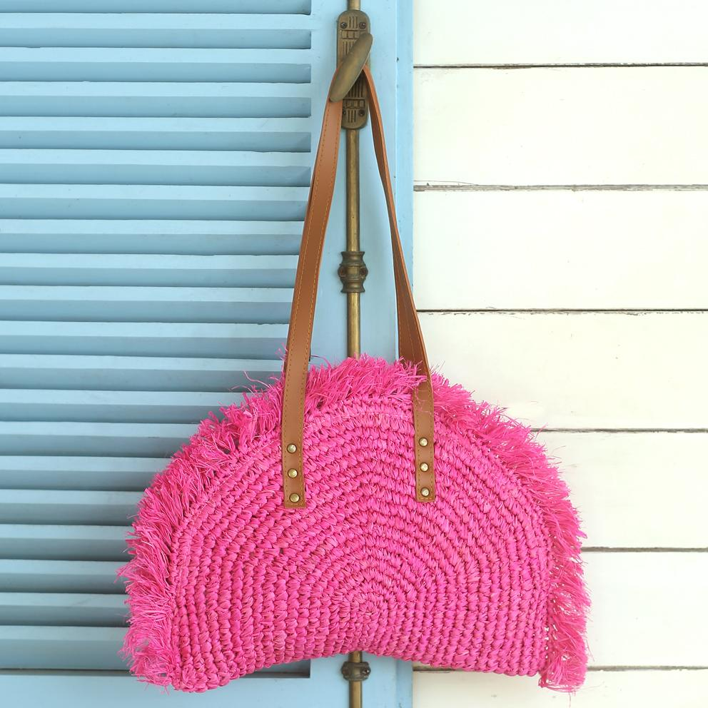 Warrior Bag, Hot Pink Woven Raffia Straw Bag