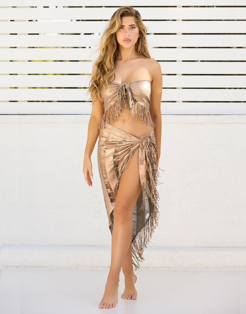 Indian Summer Cover Up Top with Fringe Detail in Tortuga - Front View