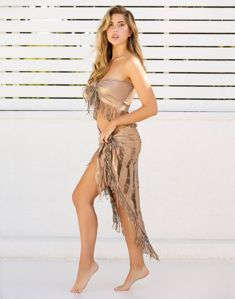 Indian Summer Cover Up Top with Fringe Detail in Tortuga - Side View