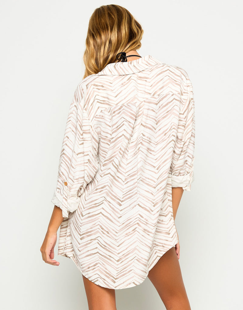 Daisy Apparel Button Up Shirt in Chevron with Collar - Back View