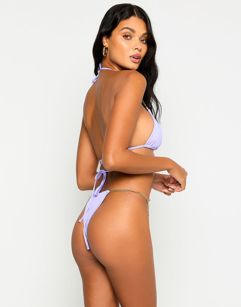 Brooklyn Triangle Bikini Top in Lavender with Gold Chain Hardware - Back View