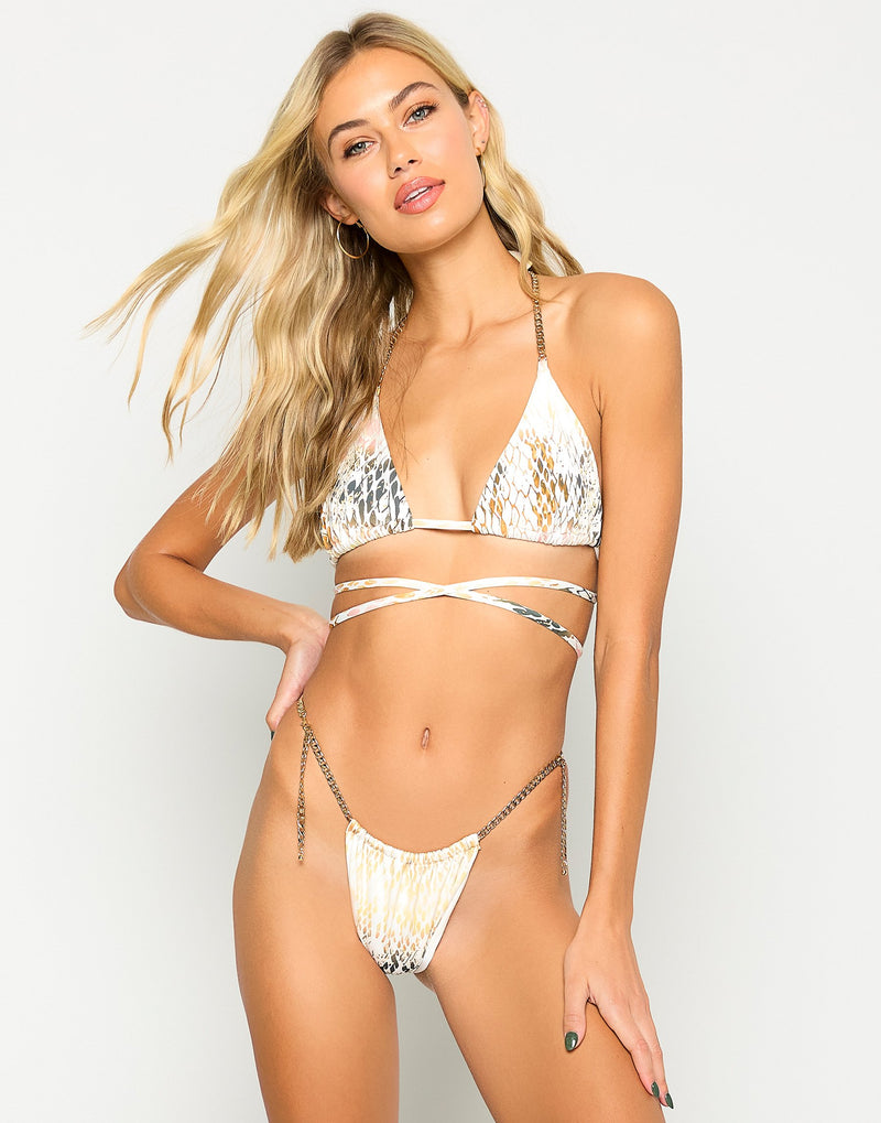 Brooklyn Tango Bikini Bottom in Snake Multi - Front View