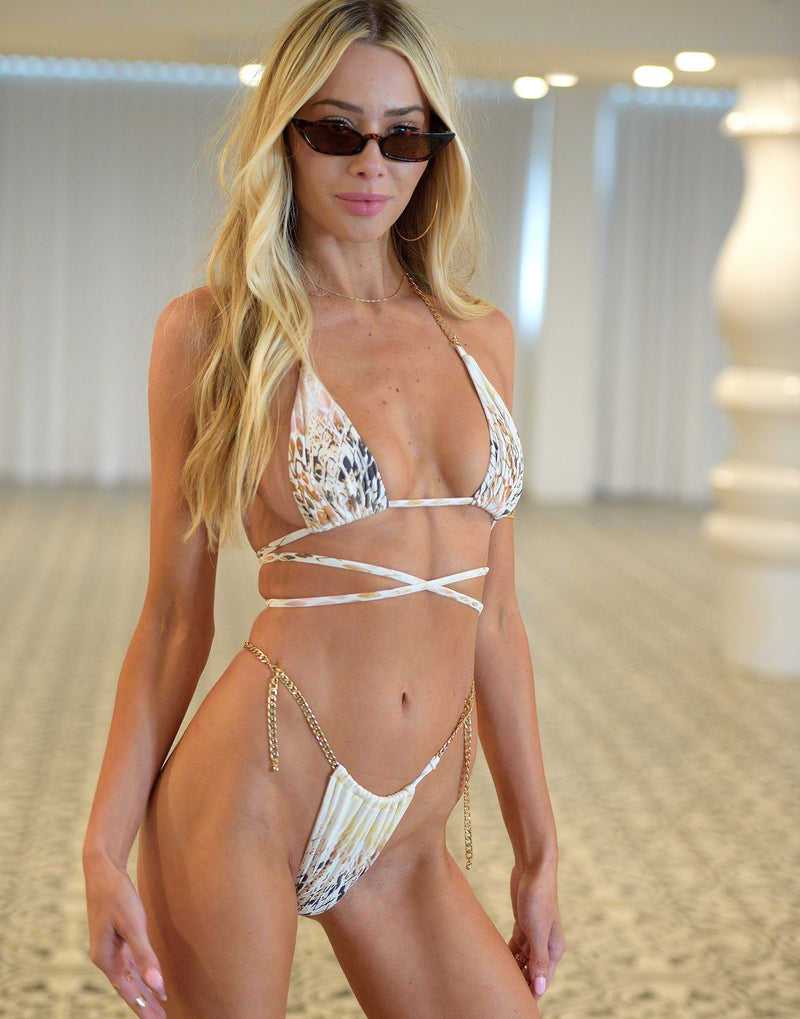 Brooklyn Triangle Bikini Top in Snake Multi with Gold Chain Hardware - Alternate Front View / Summer 2021 Miami Runway Show