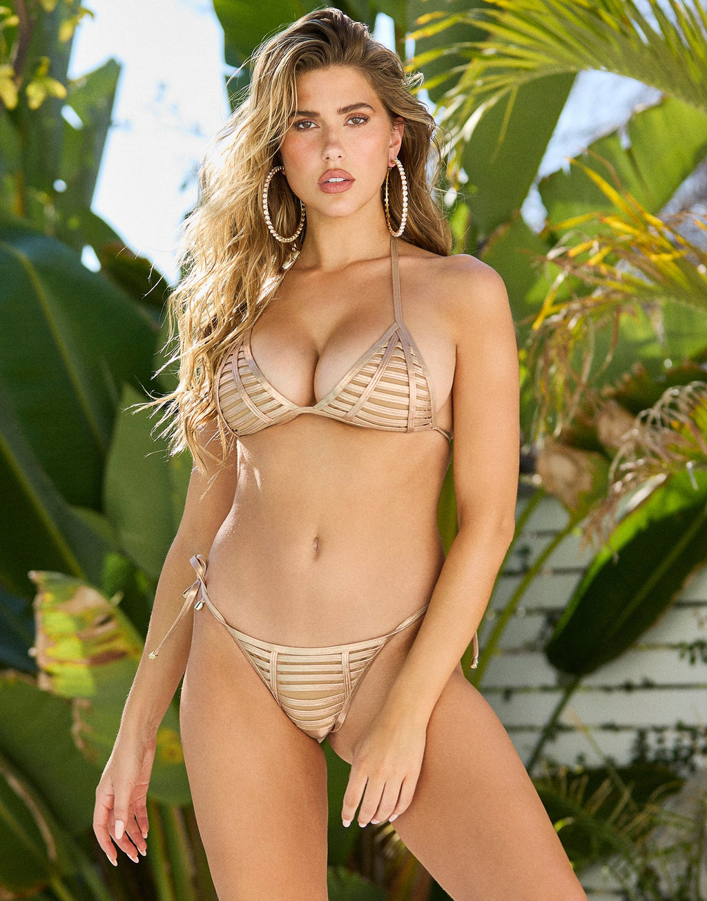 Hard Summer Triangle Bikini Top in Rose Gold with Nude Lining - Front View