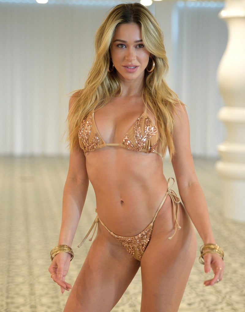 Jolie Triangle Bikini Top in Rose Gold with Beads and Sequins - Alternate Front View / Summer 2021 Miami Runway Show