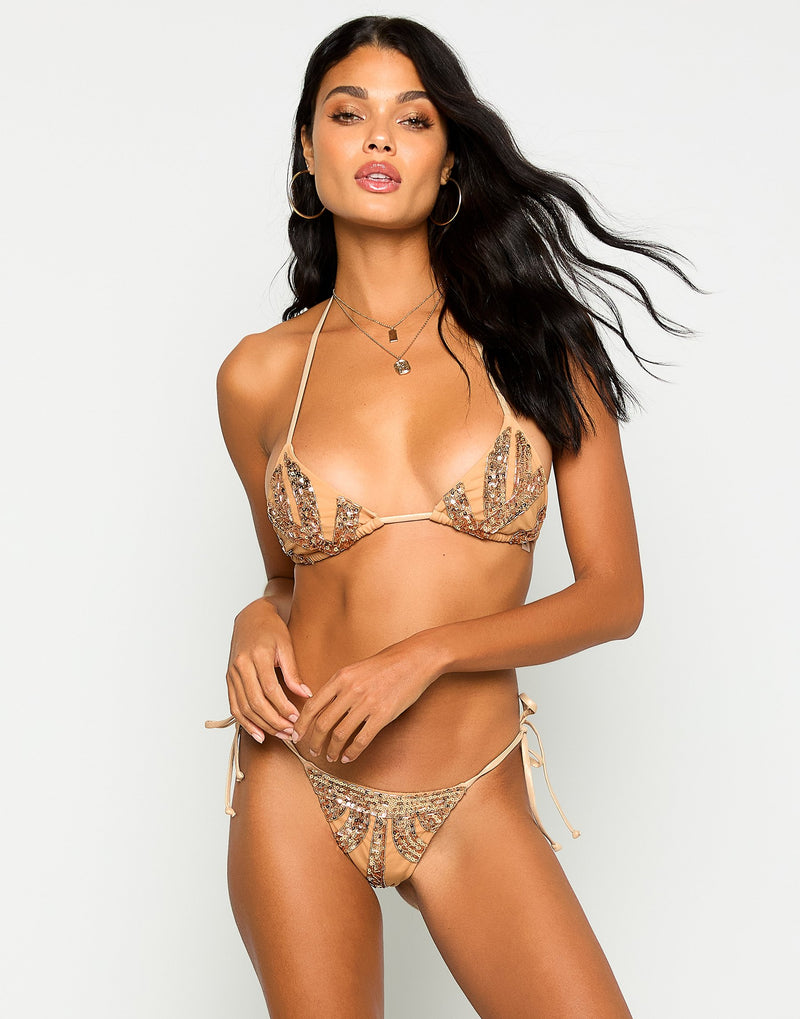 Jolie Triangle Bikini Top in Rose Gold with Beads and Sequins - Front View