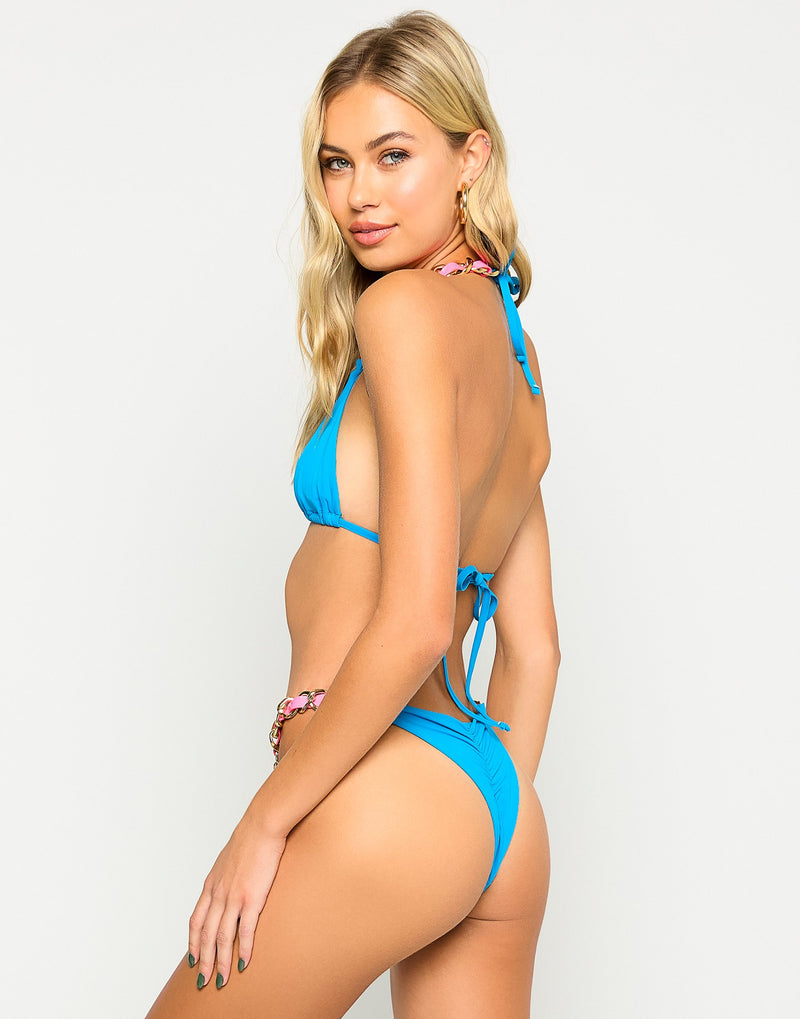 Brynn Triangle Bikini Top in Ortensia Blue with Pink Straps and Gold Hardware - Back View