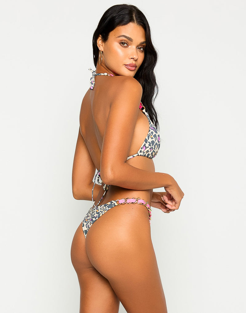 Brynn Brazilian Tango Bikini Bottom in Multi Leopard with Pink Leather Straps and Gold Hardware - Back View