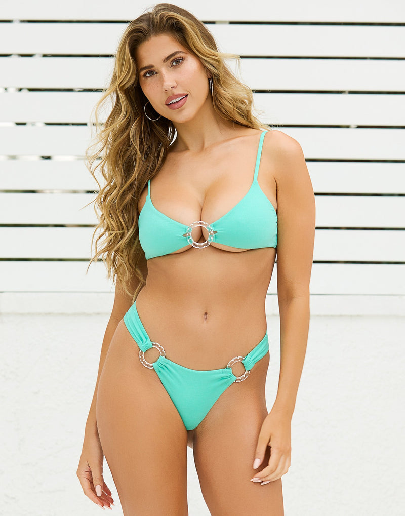 Nadia Glitter Skimpy Bikini Bottom in Seafoam with Acrylic Rings with Rhinestones - Front View