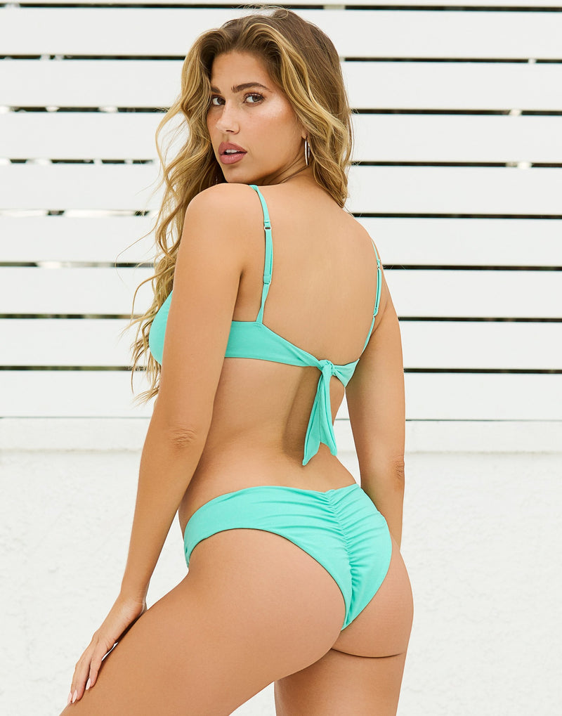 Nadia Glitter Skimpy Bikini Bottom in Seafoam with Acrylic Rings with Rhinestones - Back View