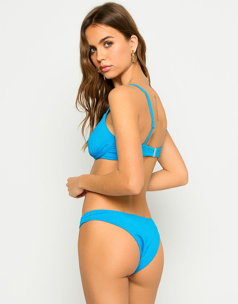 Austin Glitter Underwire Bikini Top in Ortensia Blue - Alternate Back View