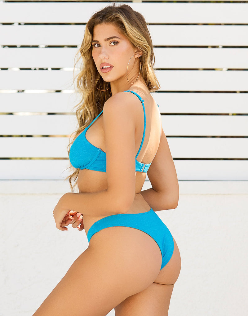 Austin Glitter Underwire Bikini Top in Ortensia Blue - Back  View