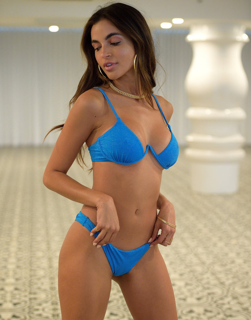 Austin Glitter Underwire Bikini Top in Ortensia Blue - Alternate Front View / Summer 2021 Miami Runway Show