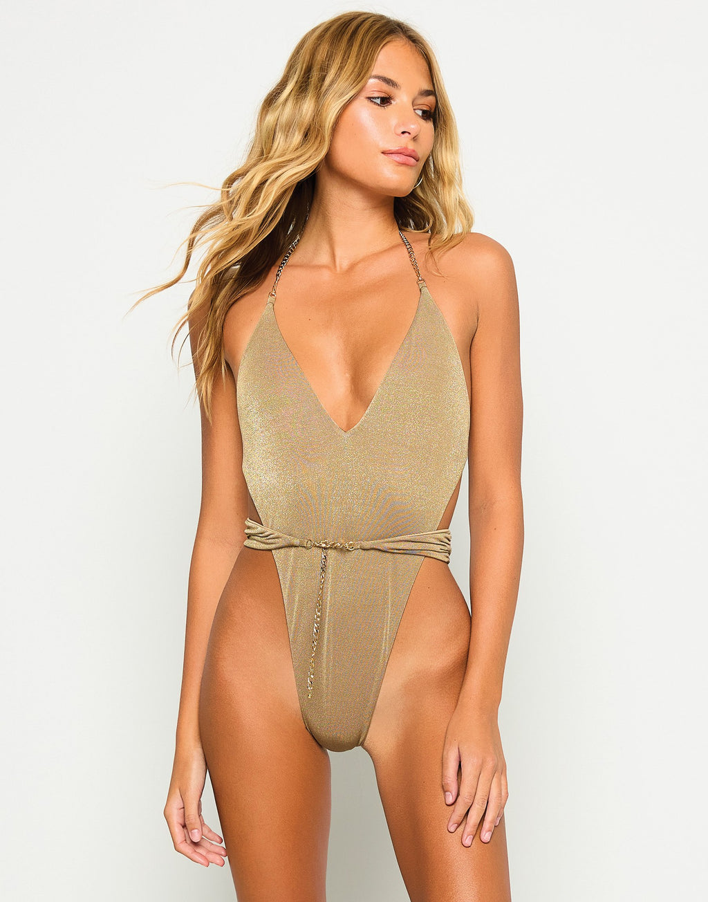 Brooklyn One Piece in Tortuga with Gold Chain Hardware - Front View
