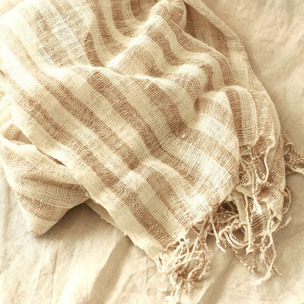 Fatima Hand-loomed Raw Cotton Scarf, in Beige
