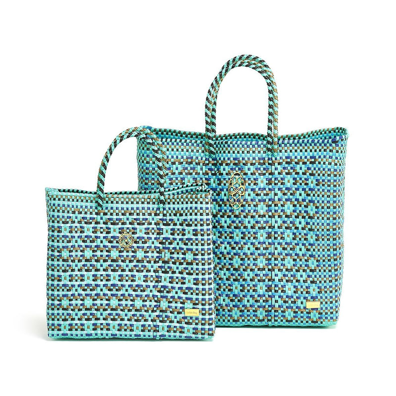 SMALL TURQUOISE PATTERNED TOTE BAG
