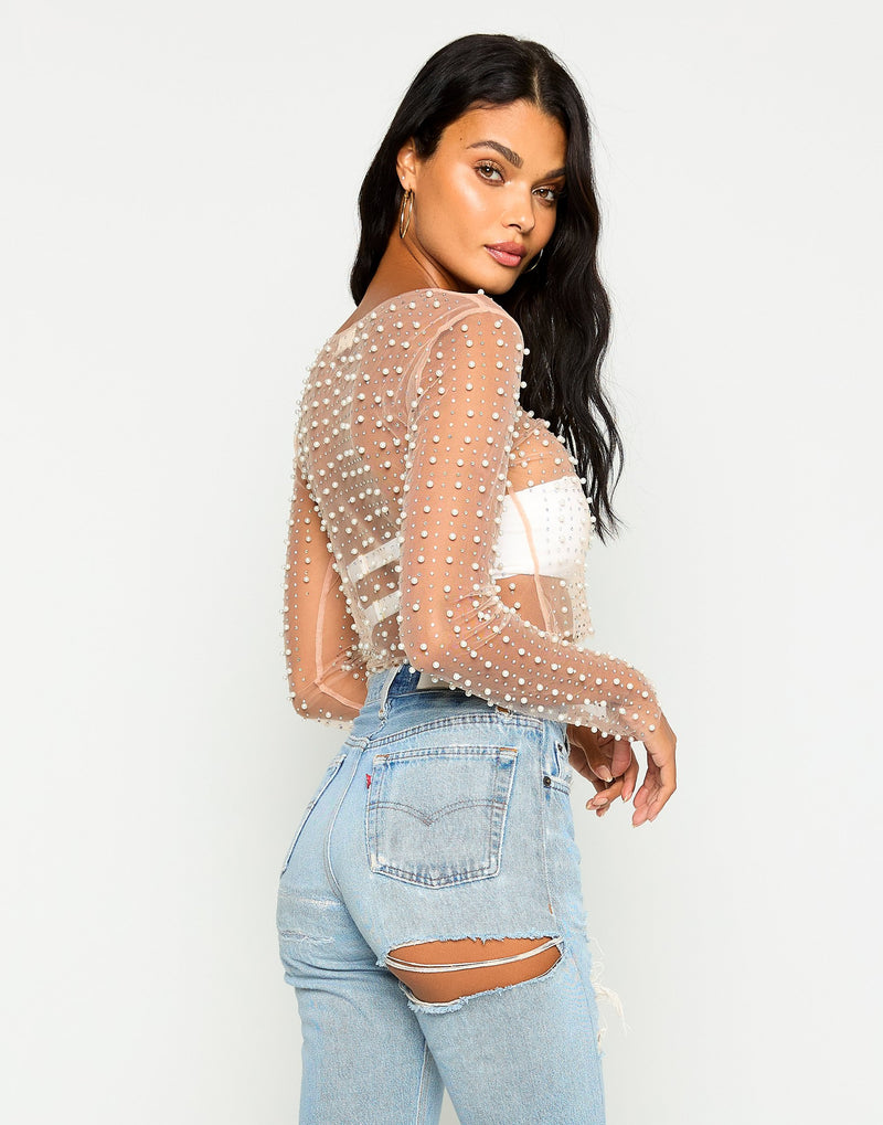 Jet Set Dreamin Rhinestone Cover Up Top in Nude - Side View
