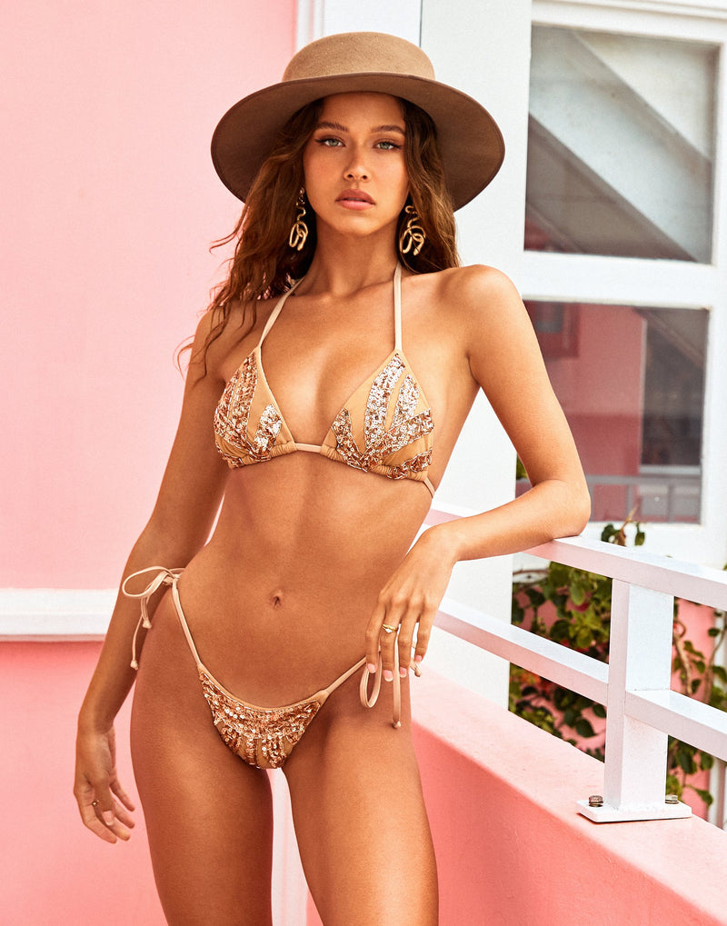Jolie Triangle Bikini Top in Rose Gold with Beads and Sequins - Alternate Front View / Spring 2021 Campaign - Isabelle Mathers
