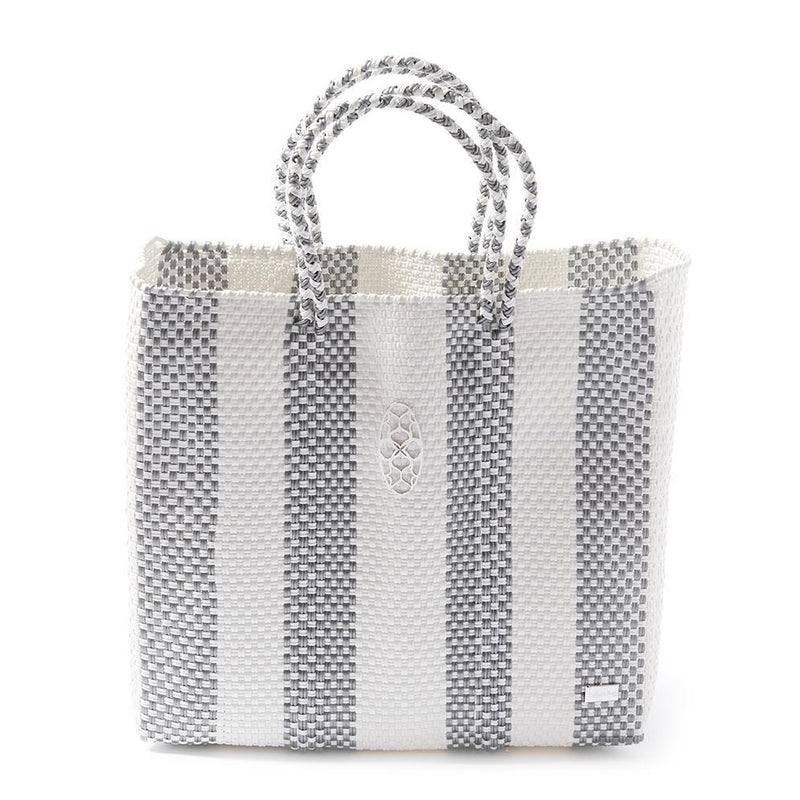 MEDIUM SILVER STRIPE TOTE BAG