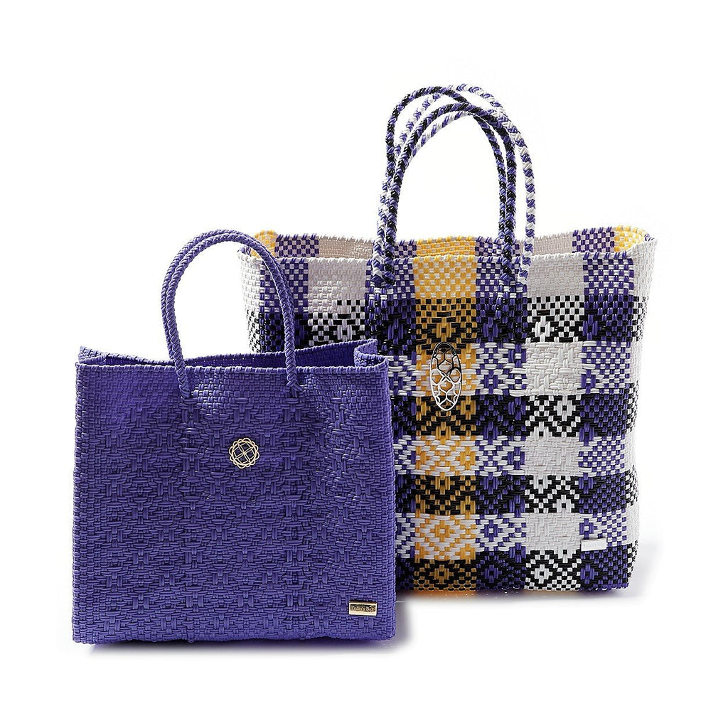MEDIUM PURPLE YELLOW TOTE BAG
