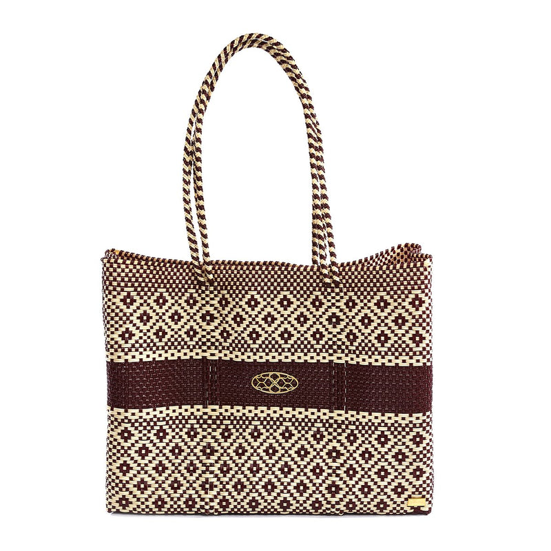 BURGUNDY BEIGE TRAVEL TOTE BAG WITH CLUTCH