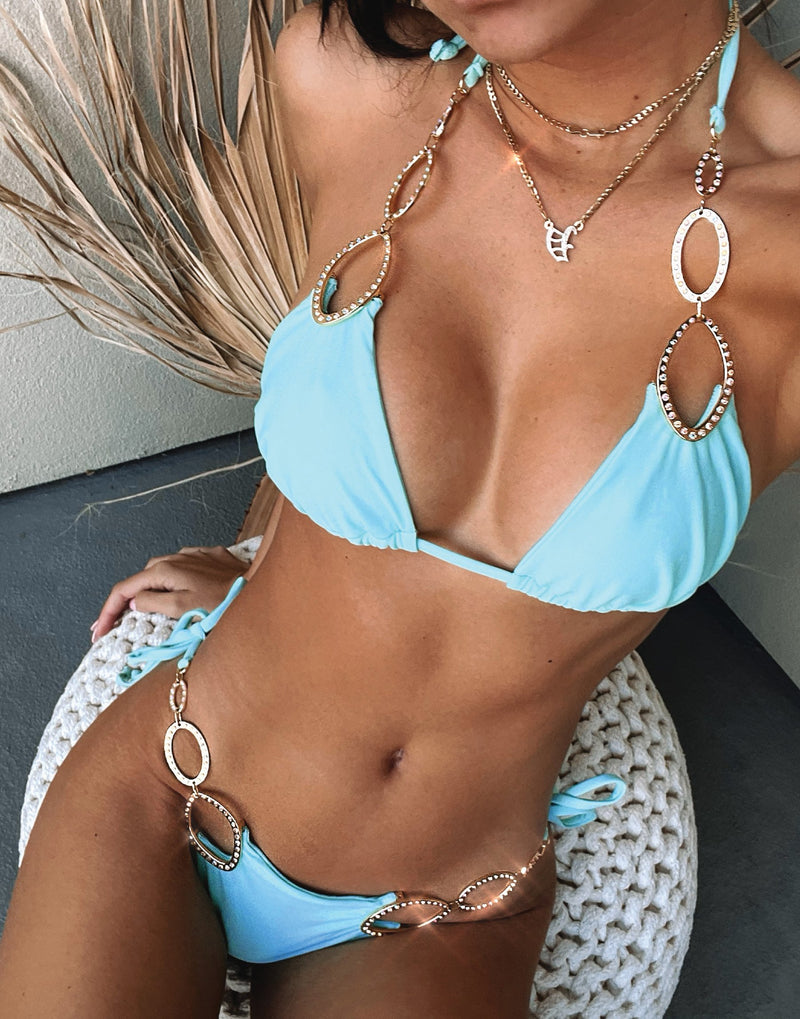 Paisley Triangle Bikini Top in Aqua with Gold Hardware - Alternate Detail View